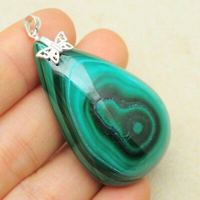 Natural Malachite Gemstone 100% Solid 925 Sterling Silver Pendant 1 7/8""