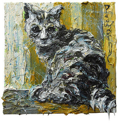 Original Signed█ Print█Of Oil Painting Art Signed Pet Abstract█Cat█Kitten█Animal