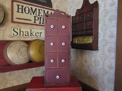 Vintage 7 Drawer Wooden Apothecary/spice Cabinet W/orig. Porcelain Knobs