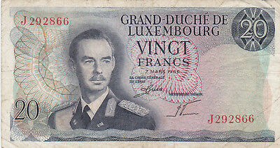20 Francs Fine Banknote From Luxembourg 1966!!pick-54