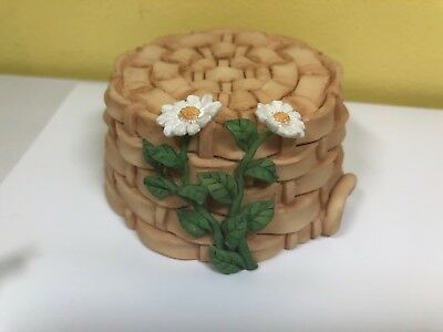 My Blushing Bunnies Display Stand Weaved Basket with Daisys