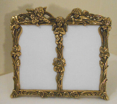 Small Ornate Brass double Picture Frame~ANGELS~easel/free stand 2.5x3 pic areas