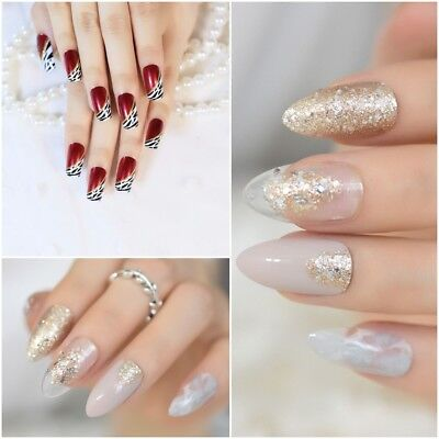 24 Pcs Beige Artificial Nails Gold Glitter Stiletto Fake Nails Elegant Press On