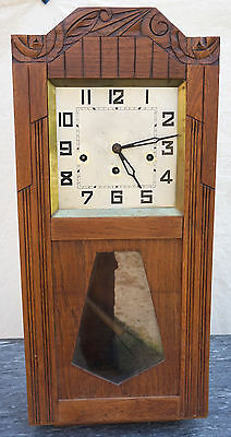 French Wesminster Chime Wall Clock Gong 8 Days Movement 1935 Parts or Repair