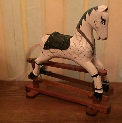 Vintage Miniature Rocking Horse Wooden Doll's House Collector Barbie Size Rare
