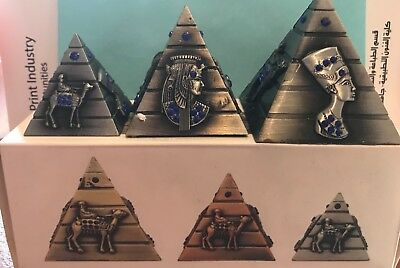 Egyptian Pyramid Set of 3, Four Sided, Face of King Tut, Queen Nefertiti, etc