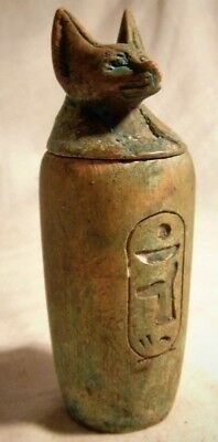 Ancient Egyptian Faience Canopic Jar With Hieroglyphs With Anubis Head On Top