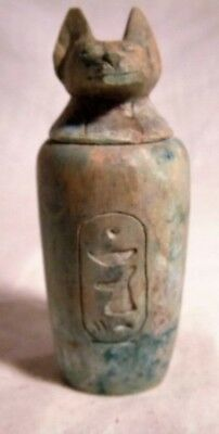 Ancient Egyptian Faience Canopic Jar With Hieroglyphs With Bastet Head On Top