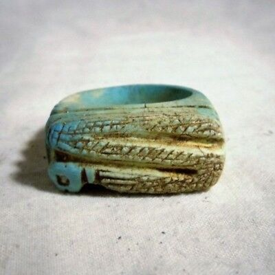 Beautiful Egyptian Glazed Ring With Serpent