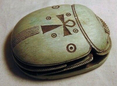 Ancient Egyptian Glazed Faience Scarab With Key Of Life On Top