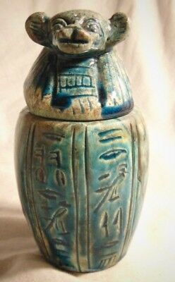 Ancient Egyptian Glazed Faience Canopic Jar With Hieroglyphs