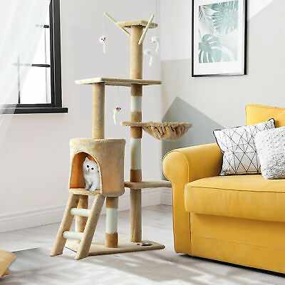 "52"" Multi-Level Cat Tree Kitten Playhouse Scratching Post Condo Beige"