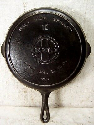 VINTAGE ANTIQUE GRISWOLD BIG BLOCK CAST IRON SKILLET # 10  716 w/ HEAT RING