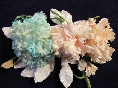 "Vintage Millinery Flower Collection Pink Green Carnation 2-3"" German  H2389"