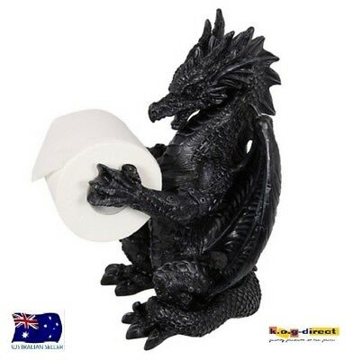 Gothic Black  Dragon Toilet Roll Holder Free Standing  34Cm Dragcrap