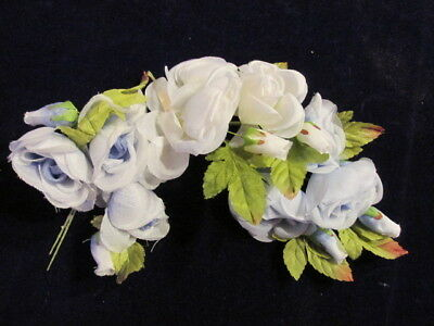 "Vintage Millinery Flower Collection Blue Soft White Rosebud 1-1 3/4"" Japan H2395"