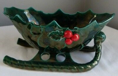 Vtg Lefton Christmas Holly Berry Holiday Centerpiece Green Sleigh 1346 Japan
