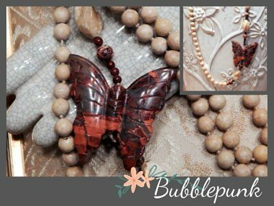 Natural Stone Hand-Knotted Bead & Butterfly Necklace