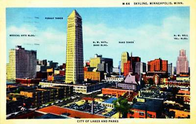 "Vintage 1955 ""skyline, Minneapolis, Minnesota"" Postcard; Postmarked 1955, #m-64"