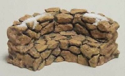 Dept 56 General Village Landscape - Curved Stone Wall Bench 52650 Brand New