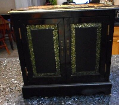 Vintage Small Wooden Box - Black and Gold w Medieval Arthur Decoration As Found
