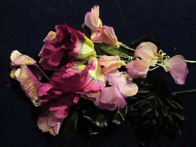 "Vtg Millinery Flower Collection Purple Pink Black Velvet Shabby 1 1/2-4""  H2407"