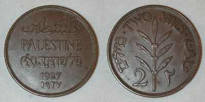 1927 Nicely Toned Two Mils Bronze Coin From Palestine Extremely Fine Much Better