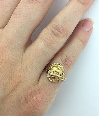Vintage Solid 18K Yellow Gold Egyptian Scarab Beetle Handmade Ring, Size 5
