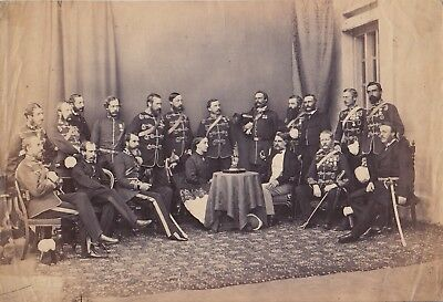GRENADIER GUARDS: Many ARMED Officers * Rare VINTAGE c.1860s Albumen Photograph