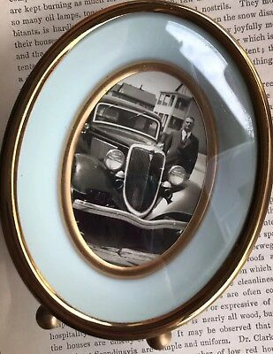 Vintage Gold Photo Oval Bubble Frame Dome Domed Estate Antique Old Car Picture