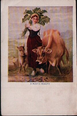 Unused A Rustic Beauty Lady Cow and Goat Vintage Postcard