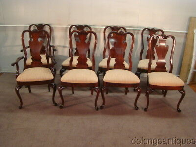 58379: Thomasville Mahogany Set of 8 Queen Anne Dining Chairs
