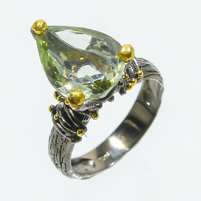 New Arrival Natural Green Amethyst 925 Sterling Silver Ring Size 7.5/R48969