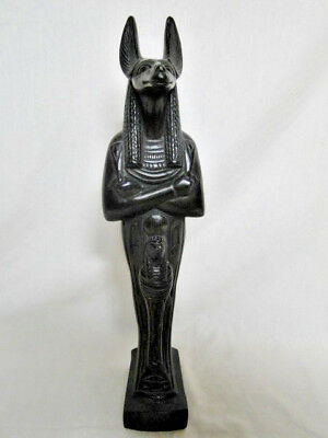 "Statue of Anubis Black 15 1/2"" Tall Ancient Egyptian God Signed"