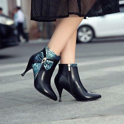 Women Pointy Toe Leather Bowknot Stilettos High Heels Ankle Boots Sexy Nightclub
