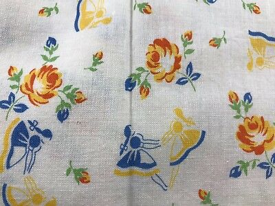 Vintage White With Blue & Gold Flowers & Girls Feedsack (No Longer A Sack)