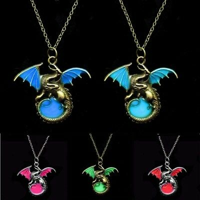 Vintage Punk Glow In The Dark Dragon Pendant Necklace Fashion Jewelry Gifts