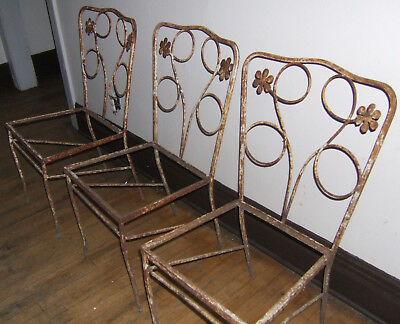 Forties Cast-Iron Patio 3 Chairs 1940's Vintage Yard Garden Set Re-Upholstery VG