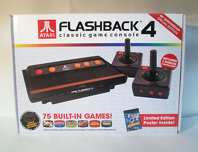 Atari Flashback 4 Classic Game Console 75 Built in Games Poster New in Open Box