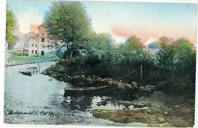 1915 Old Mystic Ct Brook & Mill New London County Postcard