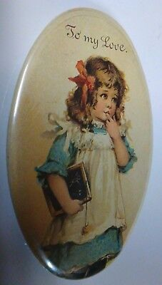 """Small ADVERTISING MIRROR, says """"to my love""""-Little Girl Depicted! EXCELLENT!"""
