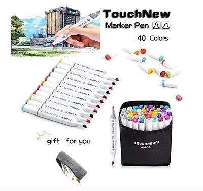 Art Marker Pens Touch New 40 Colors Sketch Dual Twin Tip Broad Fine Point
