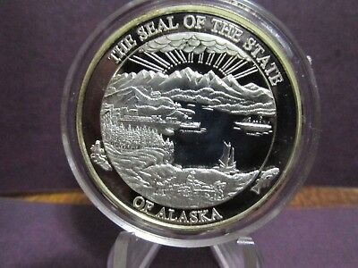 2001 SEAL OF ALASKA PROOF STRIKE 24K GOLD GILDED One Ounce Fine 999% Pure