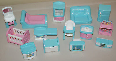 Lot of 14 Pink & Blue Vintage DollHouse Furniture Doll House Bed Tv Couch Stove