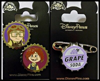 Disney Parks 3 Pin Lot UP Carl and Ellie caps + Grape Soda cap