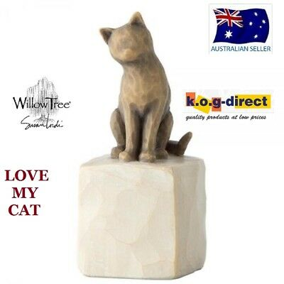 LOVE MY CAT (DARK) Willow Tree Demdaco Figurine By Susan Lordi Brand New In Box