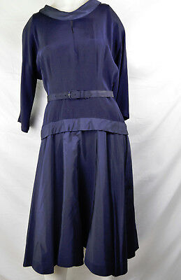 Vintage 40 Peplum Navy Day Dress Stand Collar Fitted Waist M L Space Age Modern