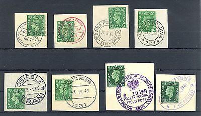 Poland 1941/45   Ww Ii  8 Spec Postmarks  English  Polish Army  In Britain @1