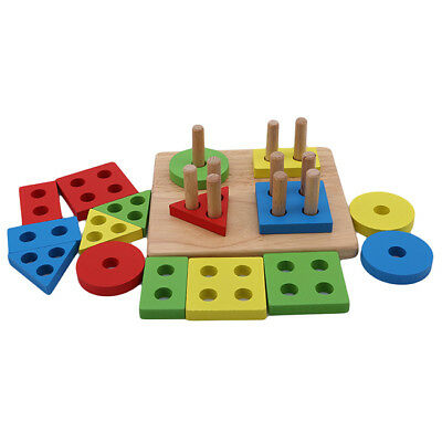 Kids Wooden Sorter Geometric Sorting Puzzle Building Block Early Learning Toy HZ