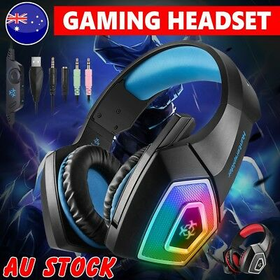Gaming Headset MIC LED Headphones Surround for Mac PC Laptop PS4 Xbox One 3.5mm